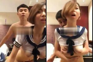 台湾年轻情侣在饭店自拍幹砲完整流出!骚货女友穿水手服疯狂浪叫超淫荡!